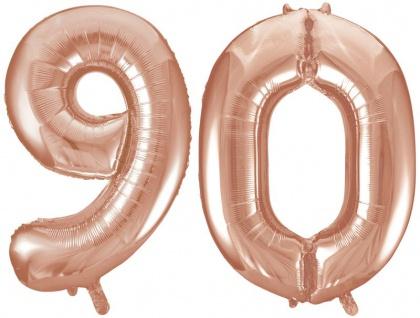 Folien Ballon Zahl 90 in Rosegold - XXL Riesenzahl 86 cm zum 90. Geburtstag