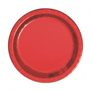 8 kleine Papp Teller Hochglanz Rot
