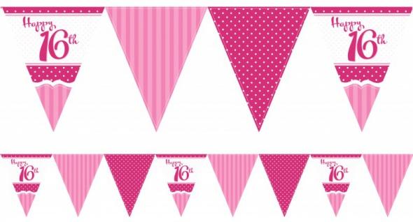 Papier Wimpel Girlande Perfectly Pink zum 16. Geburtstag
