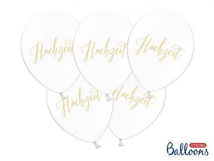 50 Hochzeit Luftballons in weiß mit gold