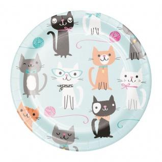 8 kleine Papp Teller Purrfect Katzen Party