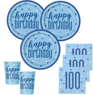 48 Teile 100. Geburtstag Blue Dots Party Set 16 Personen