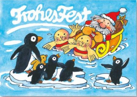 Fensterbild Postkarte Weihnachtsmann im Wasserschlitten