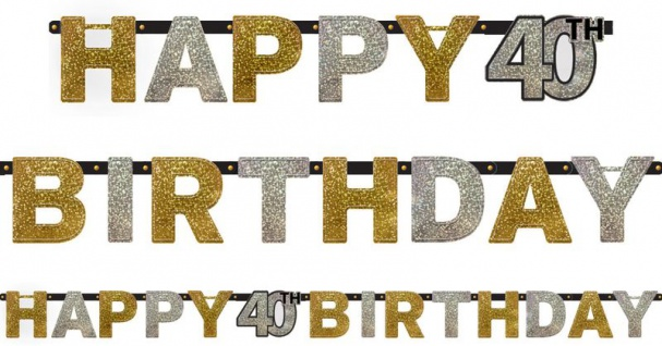 Geburtstags Girlande Glitzerndes Gold und Silber 40. Geburtstag