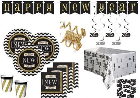 XXL 41 Teile 2019 Silvester und Neujahrs Black and Gold Happy New Year Deko Set für 8 Personen