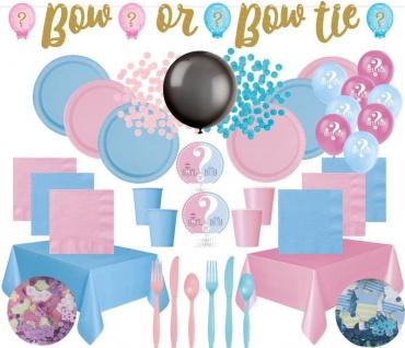 XXL 138 Teile Babyshower Junge oder Mädchen Baby Gender Reveal Party Set für 16 Personen