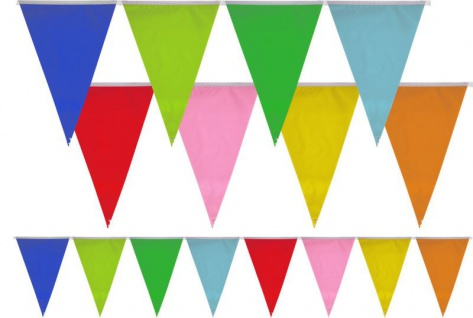 bunte Wimpel Girlande in Regenbogen Farben 10m