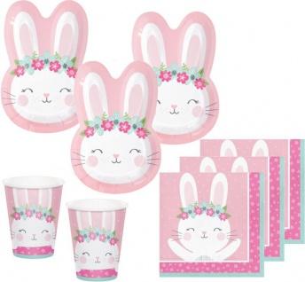 32 Teile rosa Häschen Party Deko Set in Hasenform für 8 Kinder