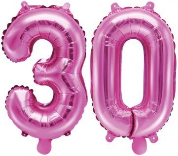 Folienballons Zahl 30 Pink Metallic 35 cm