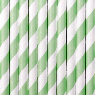 10 Papier Trinkhalme Pastell Mint weiß gestreift