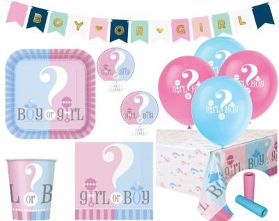 XL 52 Teile Baby Junge oder Mädchen Reveal Baby Shower Party Set für 8 Personen