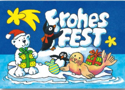 Fensterbild Postkarte Frohes Fest