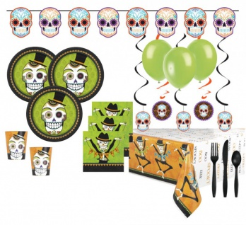 XXL 73 Teile Day of the Dead Set mit Skelett für 8 Personen - Dìa de los muertos