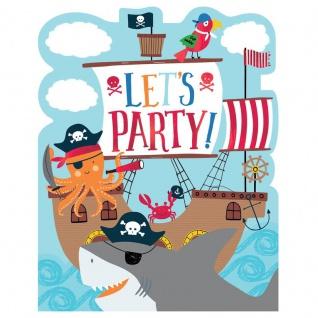 8 Einladungskarten Ahoi kleine Piraten Bande