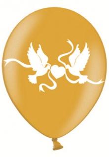 50 goldene Luftballons mit weißen Tauben bedruckt