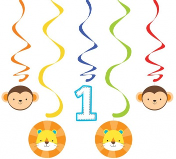 5 hängende Girlanden Geburtstag im Zoo Blau