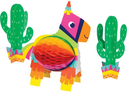 3 Teile Tischaufsteller Set Esel zur bunten Fiesta Fun Party