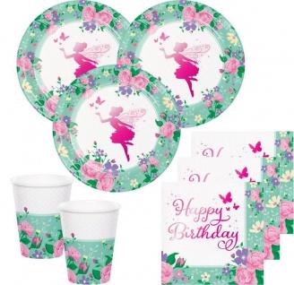 32 Teile Blumen Fee foliertes Geburtstags Party Deko Set für 8 Personen