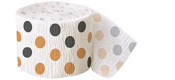 Krepp Band schwarz orange Punkte