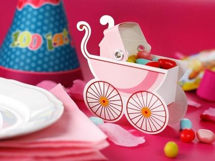10 Karton Boxen in Kinderwagen Form rosa für die Tischdeko, Gastgeschenke - Vorschau 3