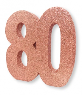 Deko Glitzer Zahl 80. Geburtstag RoseGold