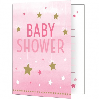 8 Einladungskarten zum Babyshower blinke kleiner Stern in Rosa