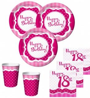 50 Teile zum 18. Geburtstag Perfectly Pink für 16 Personen