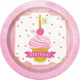 8 kleine Teller 1. Geburtstag Rosa und Gold