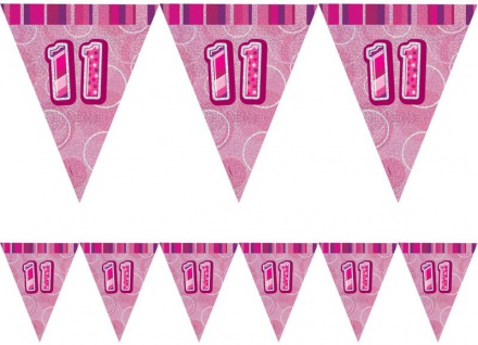 11. Geburtstag Wimpel Girlande Pink