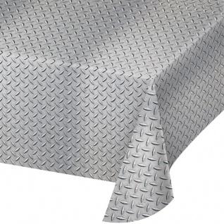 Plastik Tischdecke in Silber Aluminium Riffelblech Optik