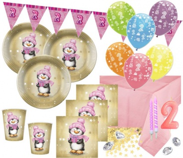 XXL 80 Teile Zweiter Geburtstag Deko Set Pinguin Mädchen in Rosa und Gold 16 Personen 2. Geburtstag