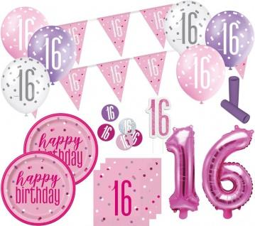 XL 36 Teile 16. Geburtstag Pink Dots Party Set 8 Personen - Sweet Sixteen - Vorschau 1