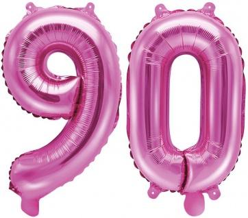 Folienballons Zahl 90 Pink Metallic 35 cm - Vorschau