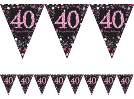 Wimpel Girlande Glitzerndes Pink und Schwarz 40. Geburtstag