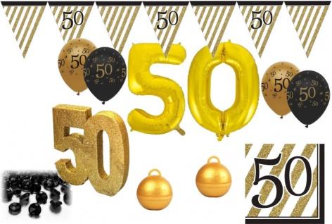 38 Teile Set zum 50. Geburtstag, Jubiläum oder Goldene Hochzeit - Party Deko in Schwarz & Gold