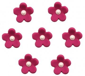 7 Zuckerfiguren in Form von Blüten in Pink