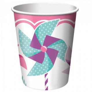 48 Teile Erster Geburtstag Windrad Pink Party Deko Set 16 Personen - Vorschau 4