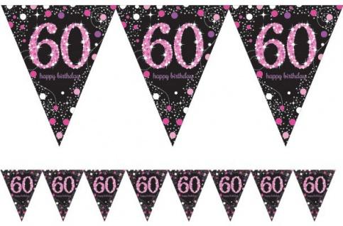 Wimpel Girlande Glitzerndes Pink und Schwarz 60. Geburtstag