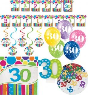 XL Party Deko Set 30. Geburtstag in Bunt für 16 Personen