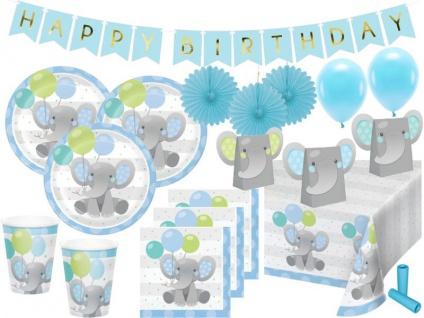 XL 56 Teile Blauer Baby Elefant Party Deko Set für 8 Personen