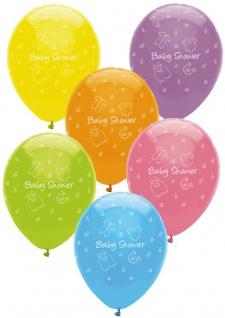 6 bunte Luftballons Baby Party Wäscheleine