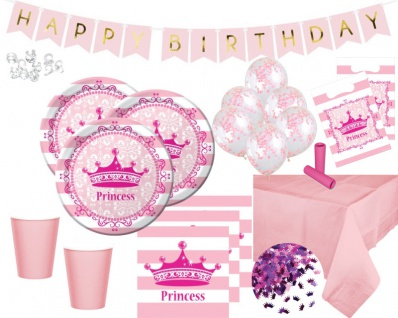 XL 60 Teile Royal Princess Prinzessinnen Party Deko Set für 8 Kinder