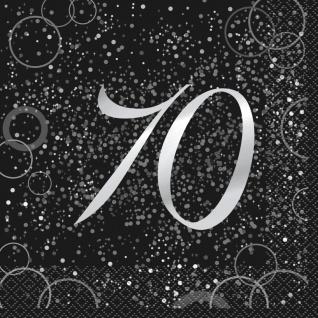 70. Geburtstag 16 Servietten in Schwarz Silber foliert