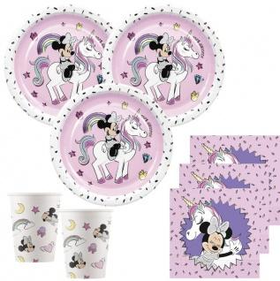 52 Teile Disney Minnie Maus Einhorn Glitzer Party Deko Basis Set für 16 Kinder