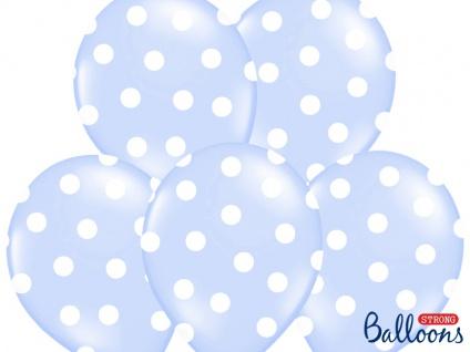 6 Luftballons Pastell Blau mit Punkten