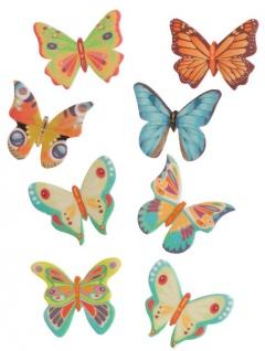 8 essbare Oblaten bunte Schmetterlinge - Vorschau 1