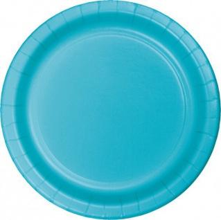 24 kleine Pappteller Bermuda Blau