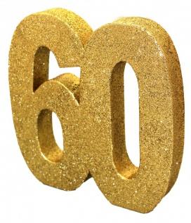Deko Glitzer Zahl 60. Geburtstag Gold