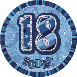 XXL Glitzer Button 18. Geburtstag Blau