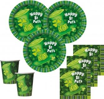 48 Teile St. Patricks Day Deko Set grüner Hut 16 Personen